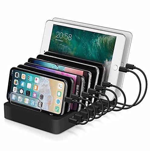 MRTYU-UY - Stazione di ricarica USB a 8 porte, per dispositivi multipli, organizer di ricarica per iPad Pro IPhone 11 Pro Max Samsung