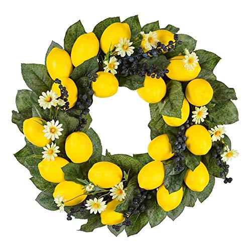 JXHYKJ 19.68Inch Spring Fruit Wreath with Artificial Lemons,Blueberry,and Daisy Flower Decorative Wreath for Door or Wall Decor