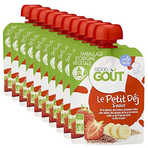 Good Goût - BIO - Gourde Petit Déj Fraise dès 6 Mois 70 g - Pack de 10
