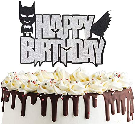 Batman Happy Birthday Cake Topper Justice Dark Knight Theme Cake Decor for Baby Shower Birthday product image
