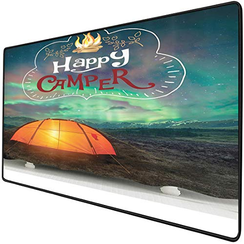 Mouse Pad Gaming Functional Camping Equipment Tents Campfire Happy Camper Adventure Time Life Fantasy Lover Natural Cave Acessories Alternative California Lover Scout Theme Thick Waterproof Desktop Mo