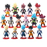 16 Pack Dragon Ball Z Cake Toppers Set, 3' Goku Figures Birthday Cake Topper Collectible Model