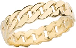 Celtic Rings 10k Gracious Yellow Gold 5 mm Cuban Link Chain Eternity Band Ring