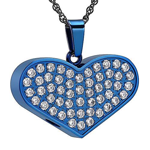 KXBY hanger as doos van glas in hartvorm van roestvrij staal met sluiting voor aandenken, sieraden