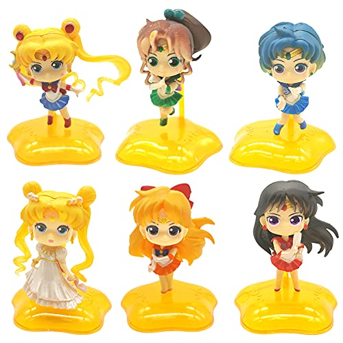 Sailor Moon Mini Figures Set, Hilloly 6 Stück Anime Figuren, Japanische klassische Anime-Figur, Sailor Moon Actionfiguren Modell, Anime Peripherie Dekor Dekoration