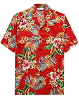 Hawaiian Shirts for Men 54 Aloha Party Casual Camp Button Down Short Sleeve Cruise Vacation Tourist Beach Wear Red