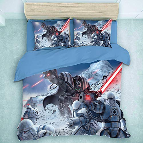 HLSM Character World Star Wars Bedding Set for Single Double King Size Bed, Microfiber Duvet Cover set with Pillowcases,Gift for Teens Boys (A01,200X200CM)