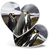 Impresionante 2 pegatinas de corazón de 7,5 cm – pingüinos emporador de montaña nevada pingüinos divertidos calcomanías para portátiles, tabletas, equipaje, libros de chatarra, frigorífico, regalo genial #44961
