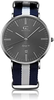 Gelfand & Co. Men's Minimalist Watch Blue/White NATO Strap Moore 40mm Silver with Gray Metallic Dial