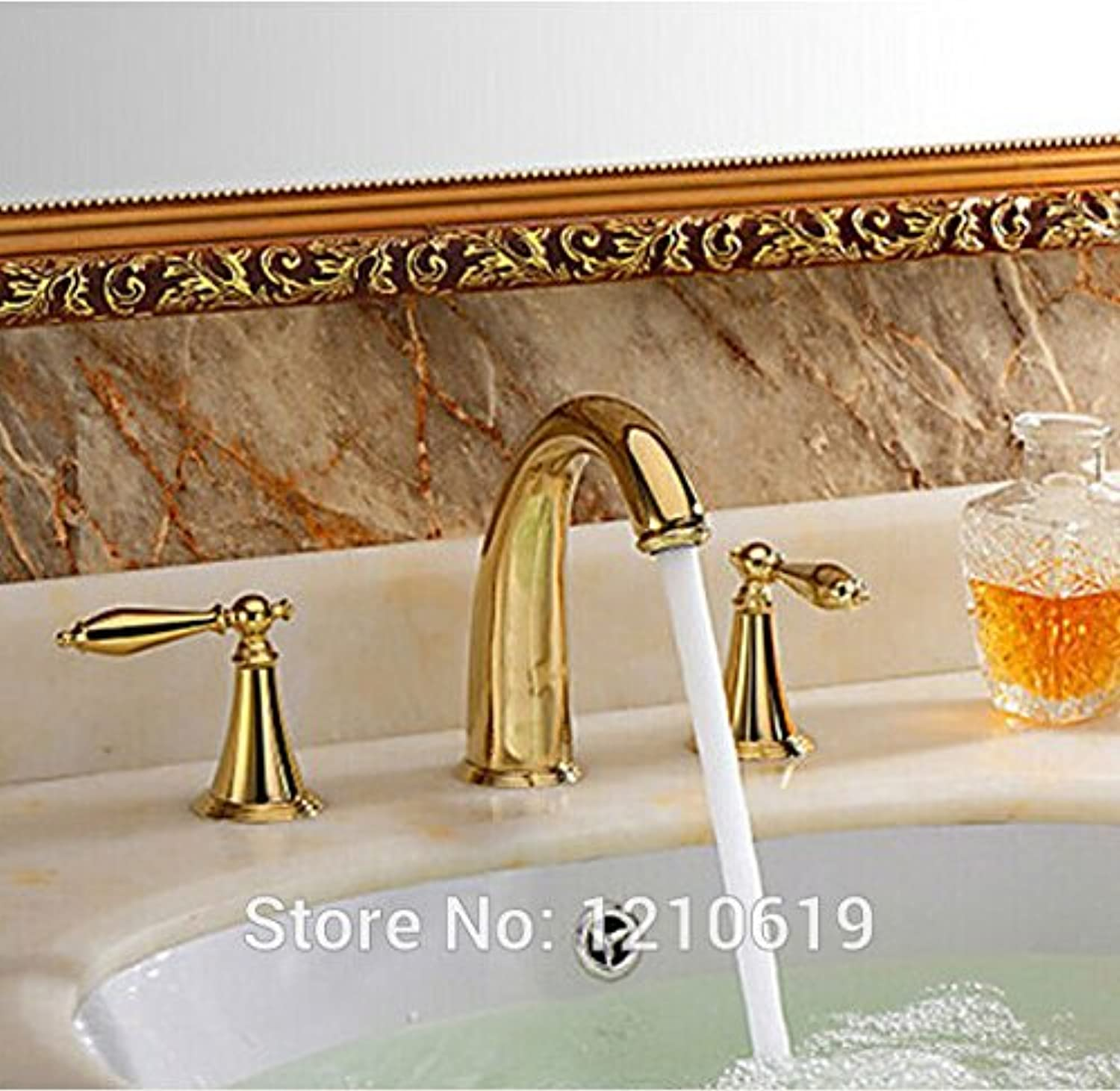 Maifeini Modern Luxury gold Poland Bathroom Vanity Pool Tap Tap Tap Dual Handles Deck
