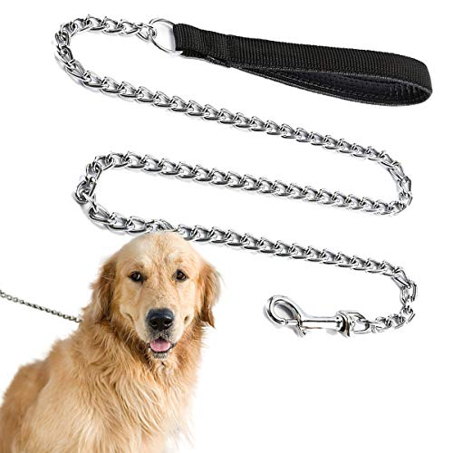 Dog Chain Leash, Chew Proof Dog Leash with Comfortable Handle and Swivel Clip for Medium Large Size Dogs' Walking Hiking and Training