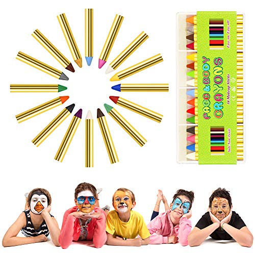 Face Paint Crayon Kits, ENJSD Face & Body Painting Makeup Crayons for Kids, Safe for Sensitive Skins, Great for Birthday Party, Halloween 16Colors