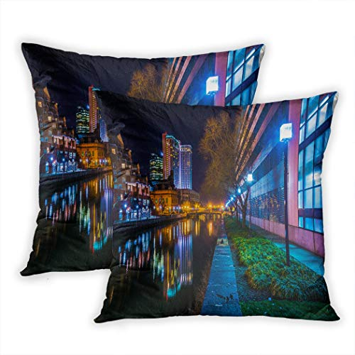 Houlor Set of 2 Throw Pillow Covers Buildings Reflecting in The Water at Night in The Inner Harbor of Baltimore Maryland 18 X 18 Inches Cushion Pillowcase for Living Room Bedroom Dorm Hidden Zipper