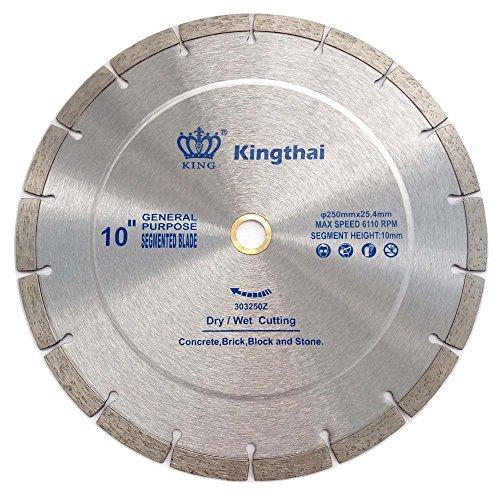 Kingthai 10 Inch Wet Dry Segmented Cutting Concrete Diamond Saw Blade for Masonry with 7/8 or 5/8 Inch Arbor