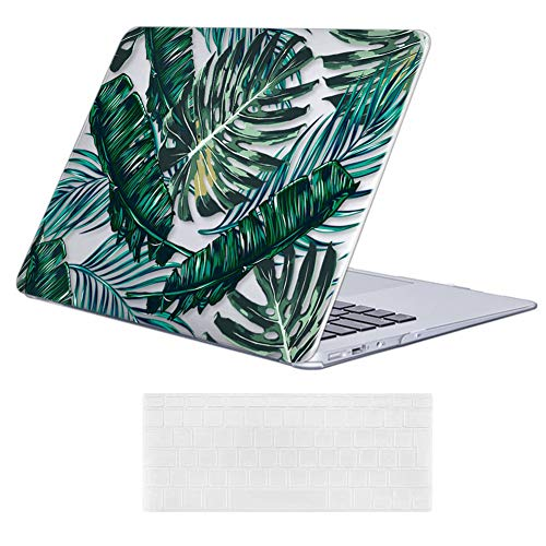 iCasso MacBook Air 13 inch Case (Release 2010-2017 Older Version), Plastic Pattern Hard Shell Protective Case & Keyboard Cover Only Compatible with MacBook Air 13 Inch Model A1369/A1466 - Palm Leaf