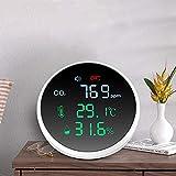 Monitor de dióxido de carbono, detector de CO2 3 en 1 Vogvigo, medición de temperatura, humedad y calidad del aire, medidor de CO2 con pantalla LCD batería de 1000 mAh y cable USB