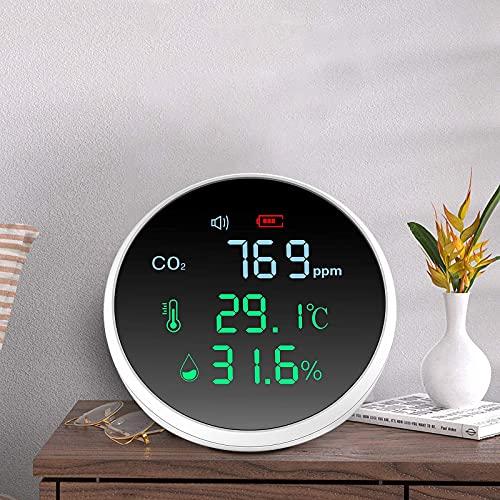 Kohlendioxid Monitor, Vogvigo 3-in-1-CO2-Detektor, Temperatur-, Feuchtigkeits- und Luftqualitätsmessung, CO2-Messgerät-Monitor-Tester mit 1000-mAh-LCD-Display und USB-Kabel