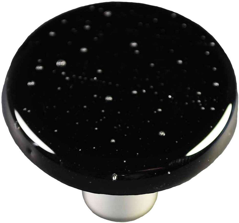 Hot Knobs HK1043-KRB Black Round Glass Cabinet Knob - Black Post