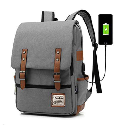 Professional Laptop Backpack, Women Vintage USB College School Bookbag - Gray