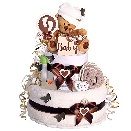 MomsStory - Windeltorte neutral   Teddy-Bär   Baby-Geschenk zur Geburt Taufe Babyshower   2 Stöckig (Braun-Beige) Baby-Boy & Baby-Girl (Unisex) mit Plüschtier Kuschel-Decke Schnuller & mehr