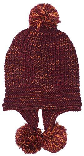 Highlight-Company Chique en lichte Noorse pomponmuts dames Model: Bommel zijwaardig, doorweven met bonte draden gebreide muts in 4 kleuren