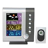 Csy Wetterstationen Funk mit Alarm & Temperatur/Luftfeuchtigkeit/Luftdruck/Vorhersage/Mondphase/Wecker, Digitale LCD-Wetterstation mit Außensensor für das Home Office