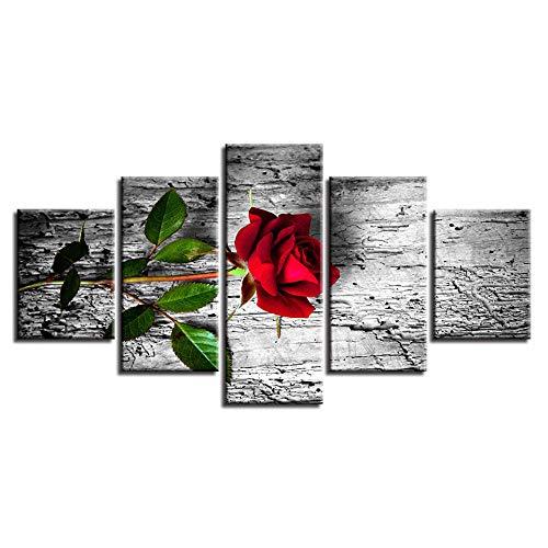 INFANDW Cuadro sobre Lienzo 5 Piezas Flor Rosa roja Impresión en Lienzo 150X80cm Imagen Arte Pintura Foto decoración del hogar para Sala de Estar Dormitorio (Sin Marco)