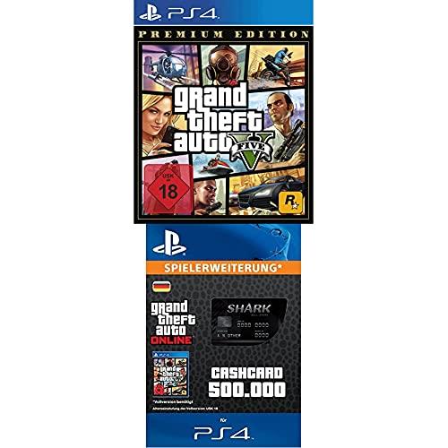 Grand Theft Auto V Premium Edition - [PlayStation 4] + Bull Shark Cash Card | 500,000 GTA-Dollars | PS4 Download Code - deutsches Konto