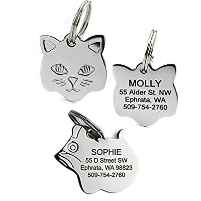 cat and mouse shaped ID tags that can be personalized, stainless steel
