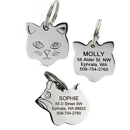 GoTags Stainless Steel Cat ID Tags, Available in Mouse and Cat Shapes, Includes up to 4 Lines of Custom Engraved Personalized Text, (Cat Shape)