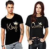 We2 Cotton Couple T-Shirts King and Queen (Pack of 2) (Men-XL, Women-M) Black