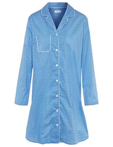 Seidensticker Damen Popeline durchgeknöpftes Langarm Nachthemd, hellblau, 042