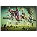 Pintura decorativa'El sueño americano' por SalV-ador Dalí, pinturas en lienzo para pared, reproducciones de obras de arte famosas, cuadros de pared para sala de estar 50x75cm