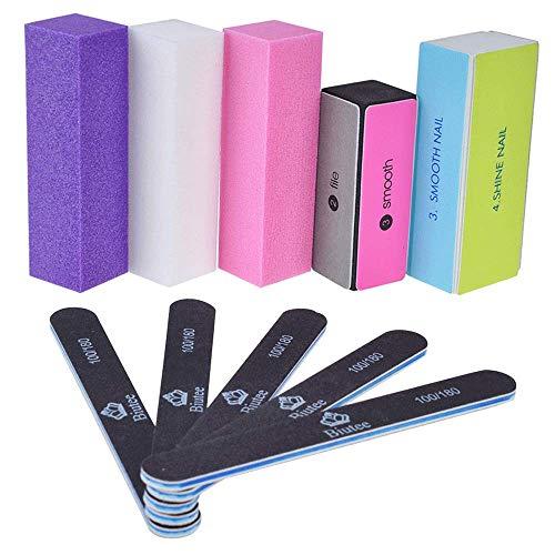 Biutee Nagelfeile Set Nagel Buffer,10 Pcs Professionelle Nagelfeilen für natürliche Nägel Gel Nägel Falsche Nagel Künstliche Nägel