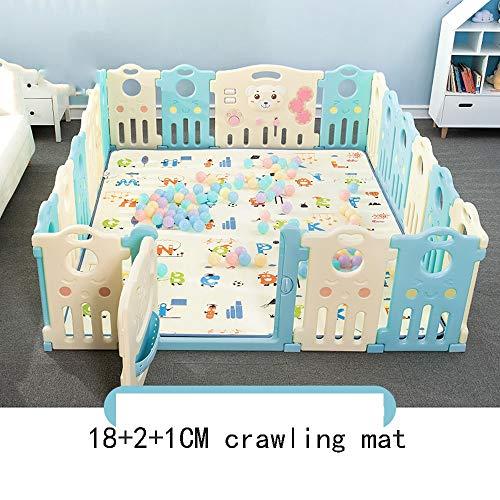HUO Baby Fence Indoor Safe Crawling Toddler Fence Barrière de Jeu pour Enfants Accueil Baby Fence avec Tapis rampants Facile à Transporter (Taille : 18+2)