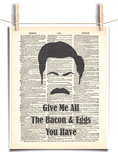 Parks and Recreation Ron Swanson Bacon and Eggs Quote 8.5 x 11 Vintage Dictionary Page Unframed Art Print