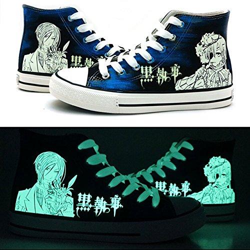 Black Butler Kuroshitsuji Ciel und Sebastian Cosplay Schuhe Leinwand Schuhe Sneakers Luminous, Herren, blau