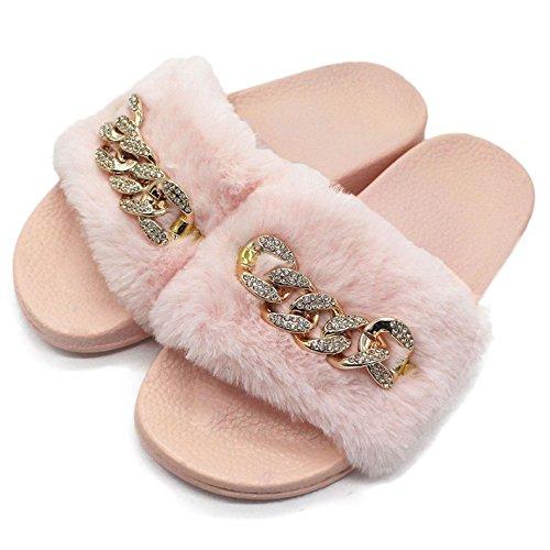 Damen Pantoletten mit Süßer Plüsch Flache Schlappen Frauen Weiche Rutschfest Hause Pantoffeln Hausschuhe Pink Größe 38