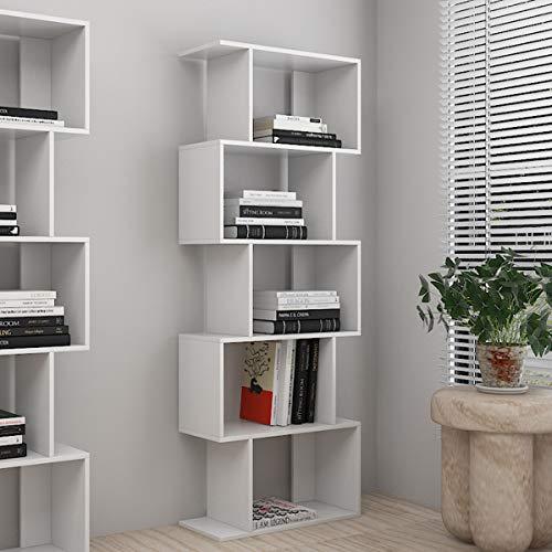 5 Ebenen Bücherregal Regal Weiß Holz Modern Zeitgenössisch Raumteiler Standregal Büroregal Wohnzimmer