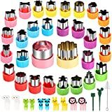 KECUCO 30 Pcs Mini Vegetable Cutter Shapes Set, Mini Cookie Cutters Set, Stainless Steel Mini Fruit Cookie Pastry Stamps Mold for Kids, Baking and Food Supplement Tools Accessories(30pcs)