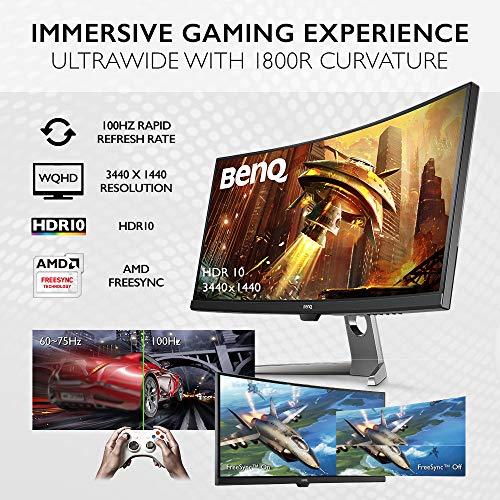 BenQ EX3501R Ultrawide Curved Gaming Monitor | 34 inch class (35 Inch) | 21:9 QHD (3440 X 1440) | 100Hz | HDR | FreeSync