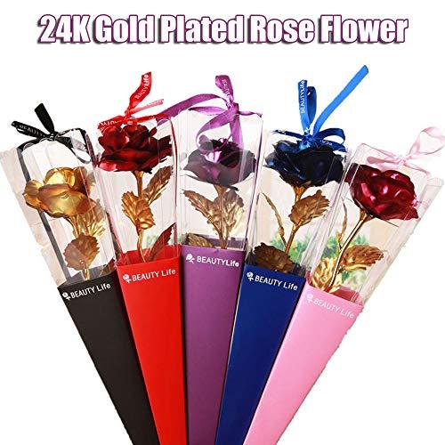 Lámina de Oro de 24 Quilates Flores Color de Rosa, Flor Artificial Rosa Regalo de Flor eterna día de San Valentín Día de la Madre