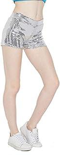 Cloe Valentine Womens Sequin Shorts Pant(CV_LB6194,Silver,Freesize)