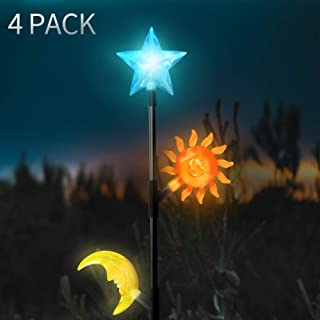 SHOO-IN 4 Pack Solar Lights Outdoor,3color LED Outdoor Light,Premium Stars Moon Sun Decorative Lights for Path, Yard, Lawn, Patio.