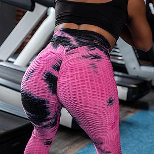 ArcherWlh Leggings Push Up Mujer,Amazon European and American Ink Jacquard Bubble Bubble Yoga Pants Slim Hips High Waist Sports Fitness Leggings Women-Red Black_M