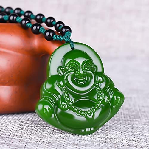 YANGYUE Colgante de Jade Verde Natural Tallado a Mano, Collar con Colgante de Jaspe de Buda, Collares Redondos de Jade para Mujer, Colgantes, joyería de Jade de jadeíta
