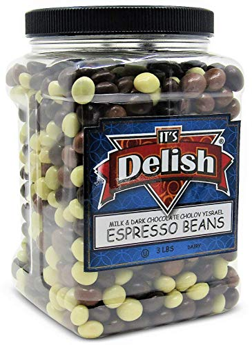 Gourmet Chocolate Covered Espresso Beans Medley by Its Delish – 3 LBS Jumbo Reusable Container – Premium Kosher Dairy Mix of Dark, Milk & White Chocolate Covered Coffee Beans
