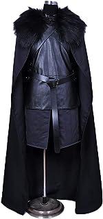 QWEASZER Juego de tronos Jon Snow Costume Mens Jon Snow Cosplay Disfraces Disfraz de Halloween, Escuela Drama Rendimiento ropa Mono