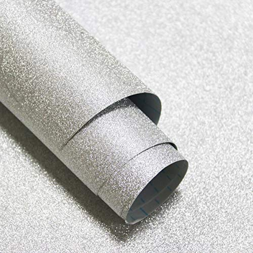 Glitter Silver Contact Paper Sparkley Silver Creative Covering Peel and Stick Wallpaper Silver Removable Self Adhesive Paper for Bedroom DIY Gift Decoration Shelf Drawer Liner Vinyl Roll 17.7'x78.7'