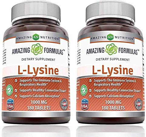 Amazing Formulas L Lysine 1000mg Amino Acid Vitamin Tablets Non GMO Gluten Free Commonly Used product image
